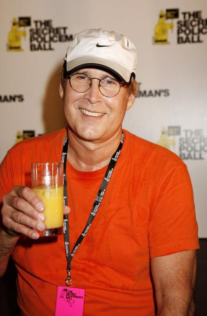 Chevy Chase at the press room at the Secret Policeman's Ball at the Royal Albert Hall.