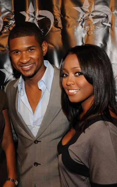 Usher Raymond and Keshia Knight Pulliam at the launch of the U-Cast Podcast series.