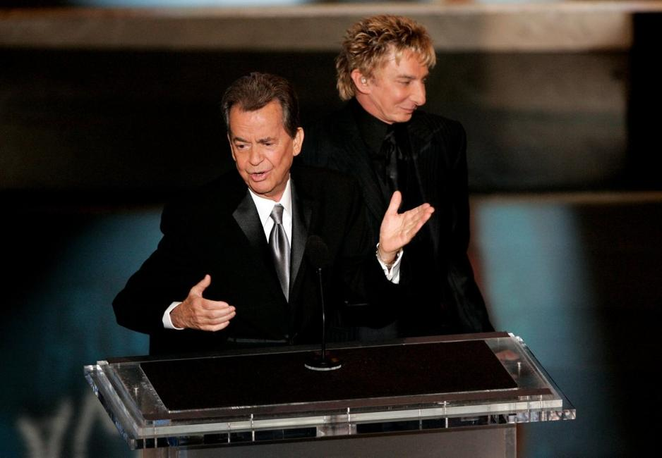 Dick Clark with Singer Barry Manilow at the 58th Annual Primetime Emmy Awards.