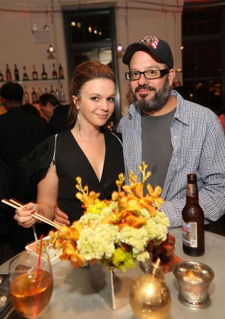 Amber Tamblyn and David Cross at the premiere of