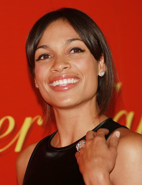 Rosario Dawson at the cocktail party in celebration of the Cartier Charity Love Bracelet.