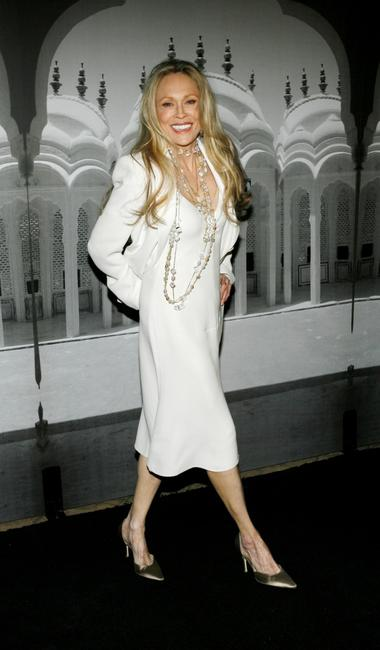 Faye Dunaway at the Giorgio Armani's fashion show to Celebrates the Oscars.