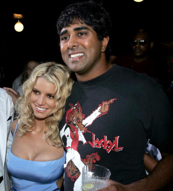Jessica Simpson and Jay Chandrasekhar at the premiere of