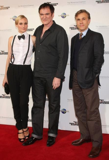 Diane Kruger, Quentin Tarantino and Christoph Waltz at the premiere of
