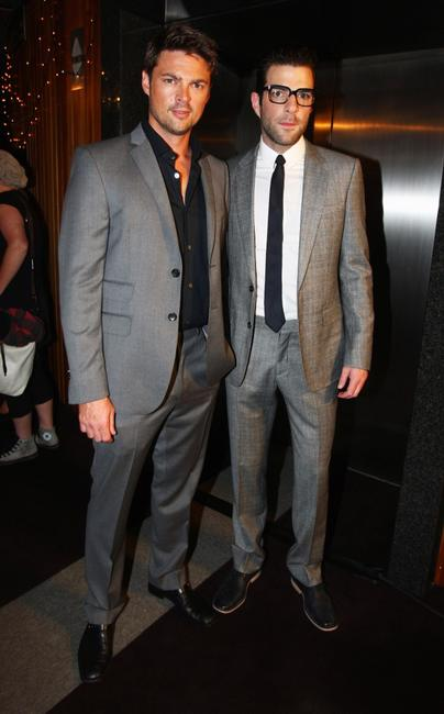 Karl Urban and Zachary Quinto at the premiere of