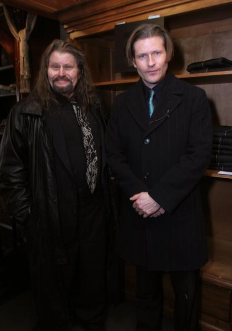 Bruce Glover and his son Crispin Glover at the Gibson Guitar and Entertainment Tonight celebrity hospitality lodge in the Miner's Club during the 2007 Sundance Film Festival.