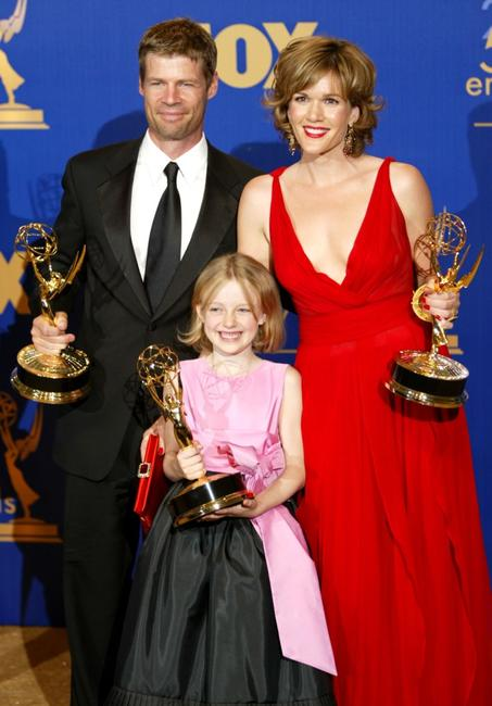 Joel Gretsch, Dakota Fanning and Catherine Dent at the 55th Annual Primetime Emmy Awards.