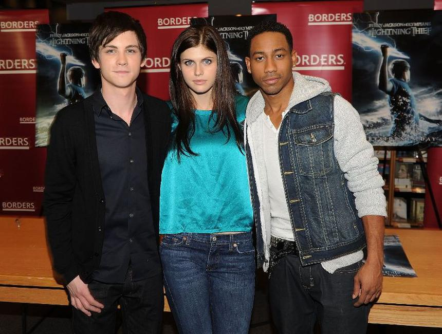 Logan Lerman, Alexandra Daddario and Brandon T. Jackson at the promotion of