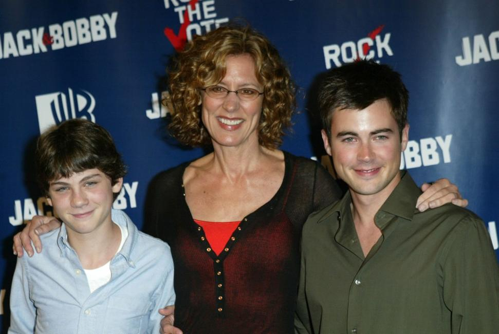 Logan Lerman, Christine Lahti and Matt Long at the WB Rock The Vote event.