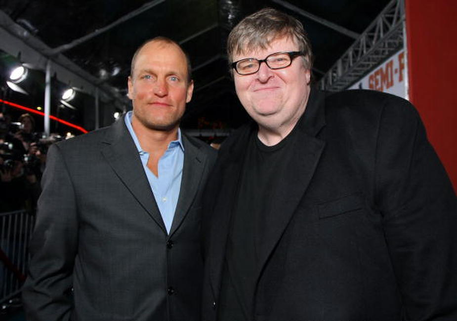 Woody Harrelson and Michael Moore at the New Line premiere of