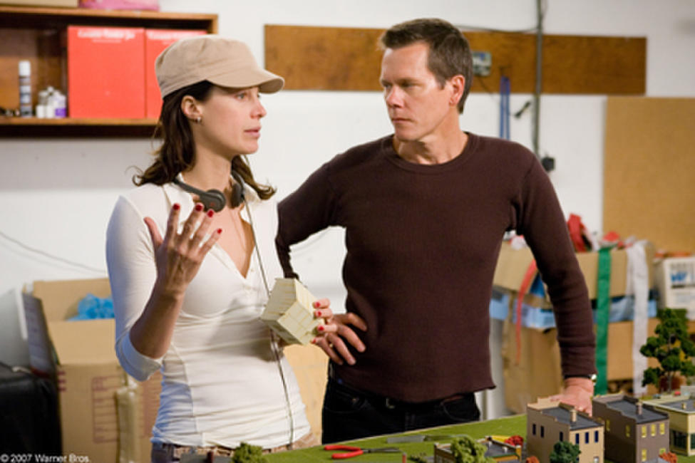 Director Alison Eastwood and Kevin Bacon on the set of