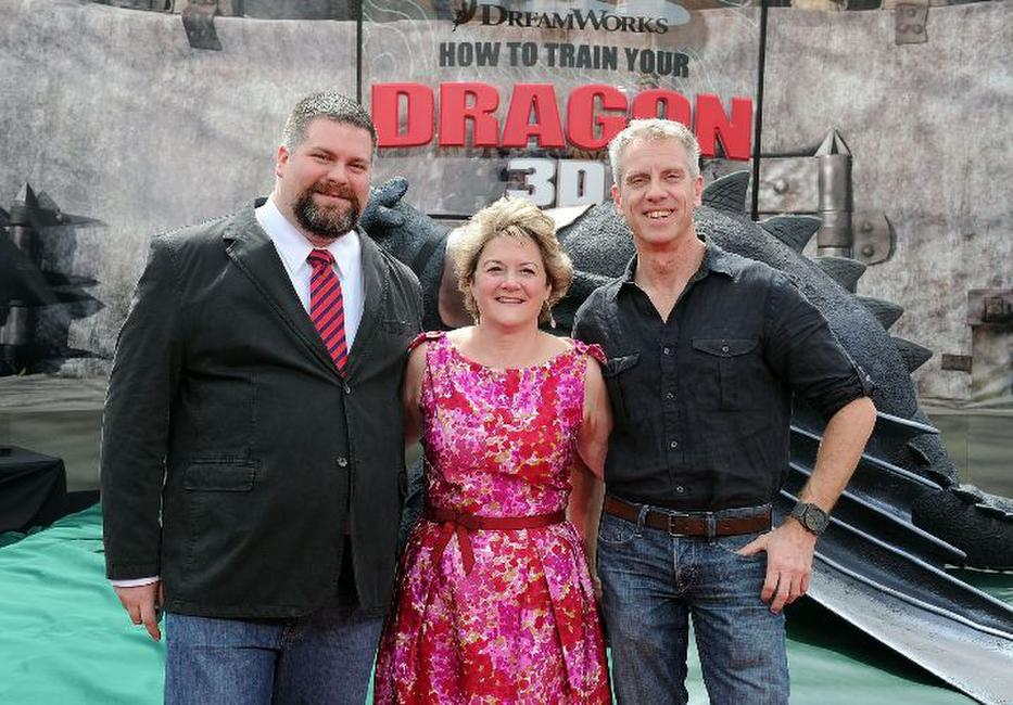 Dean DeBlois, producer Bonnie Arnold and director/writer Chris Sanders at the premiere of