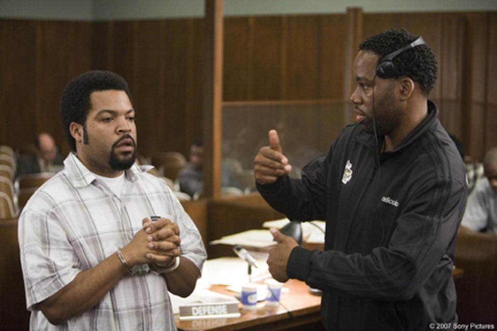 Director David E. Talbert and Ice Cube on the set of