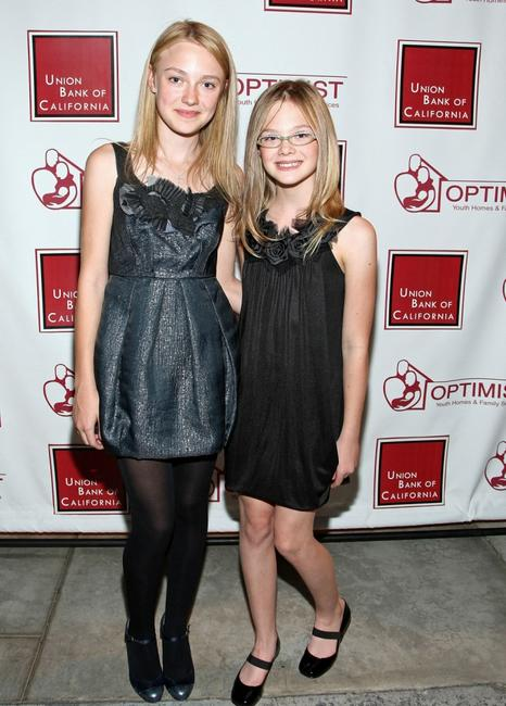 Dakota Fanning and Elle Fanning at the Optimist Youth Homes and Family Services 2008 Mentor Awards Dinner and Fashion Show.