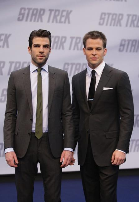 Zachary Quinto and Chris Pine at the Germany premiere of