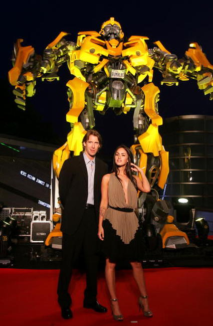 Director Michael Bay and actress Megan Fox at the Sydney press conference for