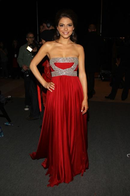 Maria Menounos at the Heart Truths Red Dress Collection fashion show.