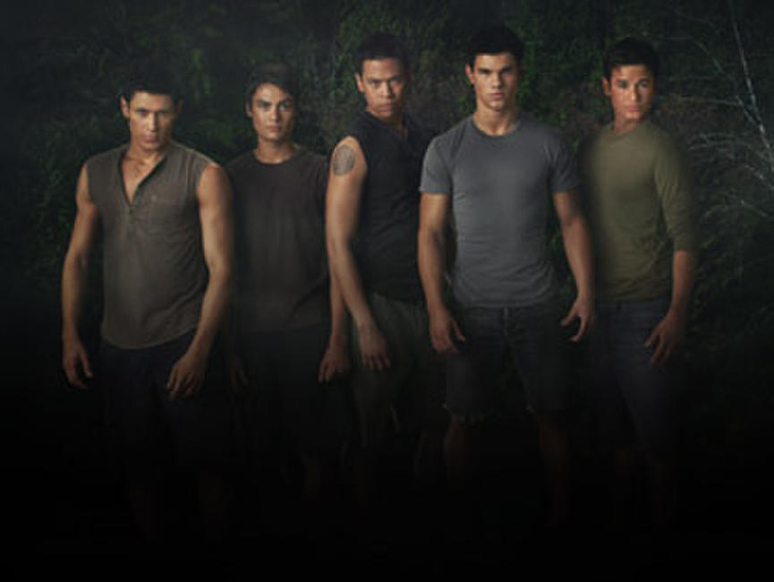 Alex Meraz as Paul, Kiowa Gordon as Embry Call, Chaske Spencer as Sam Uley, Taylor Lautner as Jacob Black and Bronson Pelletier as Jared in
