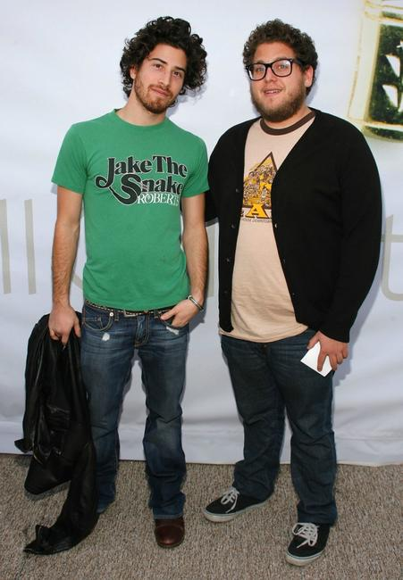 Jake Hoffman and Jonah Hill at the Mercedes Benz Fashion Week.