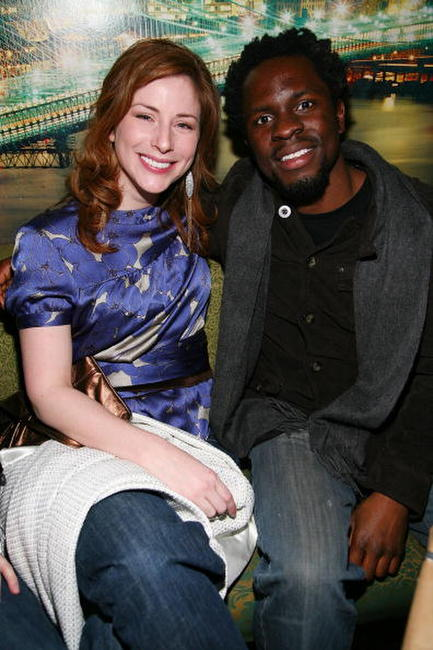 Diane Neal and Gbenga Akinnagbe at the New York Magazine Oscar Viewing Party.