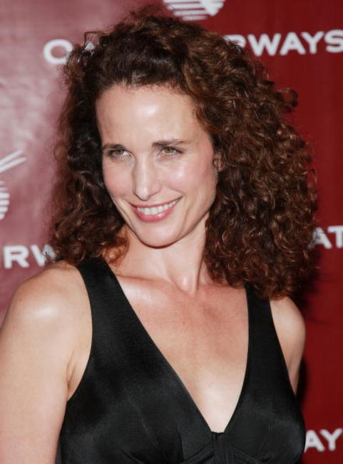 Andie MacDowell at the Qatar Airways gala to celebrate their inaugural flights to NYC.