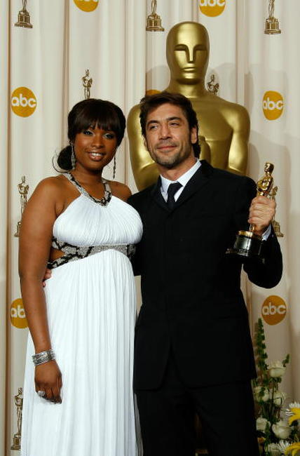 Jennifer Hudson and Javier Bardem at the 80th Annual Academy Awards.
