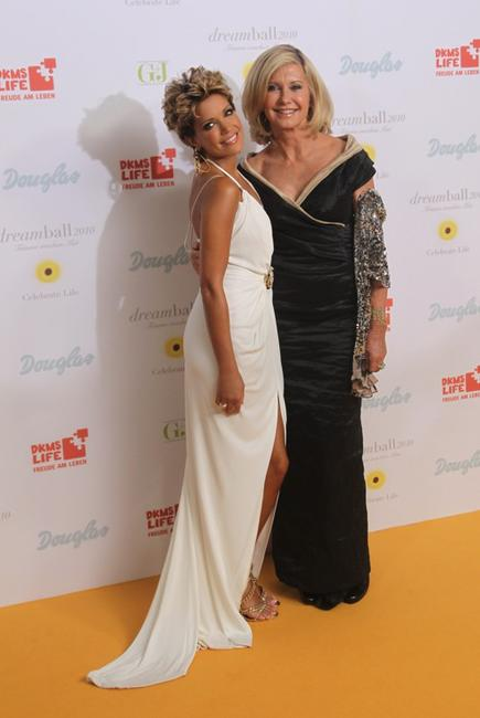 Sylvie van der Vaart and Olivia Newton-John at the Dreamball 2010 charity gala.