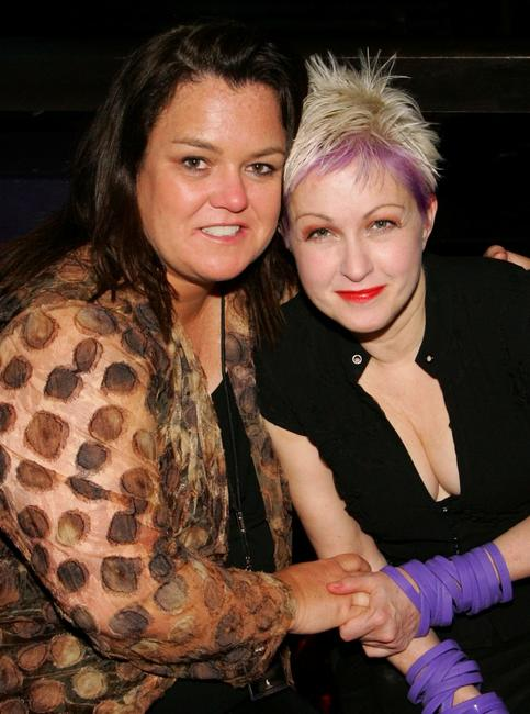 Rosie O'Donnell and Cyndi Lauper at the official True Colors Tour after party at Studio 54.
