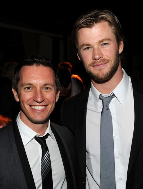 Rove McManus and Chris Hemsworth at the Australians In Film's 2010 Breakthrough Awards.