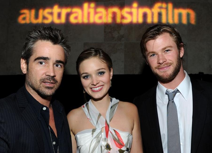 Colin Farrell, Bella Heathcote and Chris Hemsworth at the Australians In Film's 2010 Breakthrough Awards.
