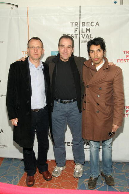 Steven Barron, Mandy Patinkin and Octavio Gomez Berrios at the premiere of