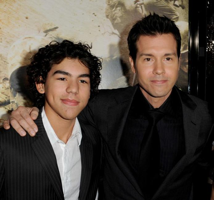 Jon Seda Jr. and Jon Seda at the premiere of
