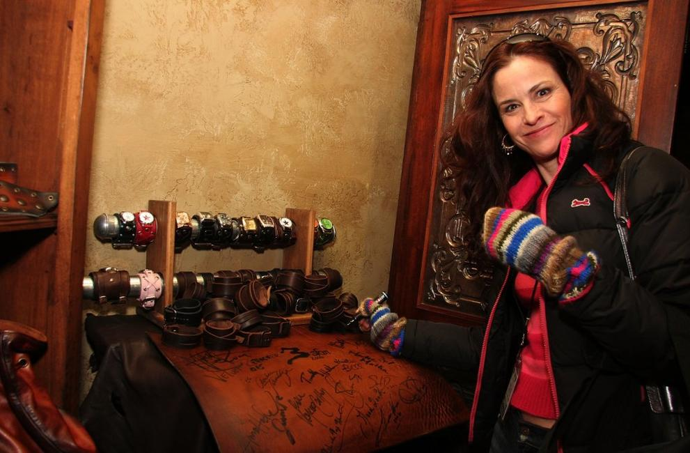 Ally Sheedy at the 3 Skin Leather Display at the Gibson Guitar Lounge on Main Street.