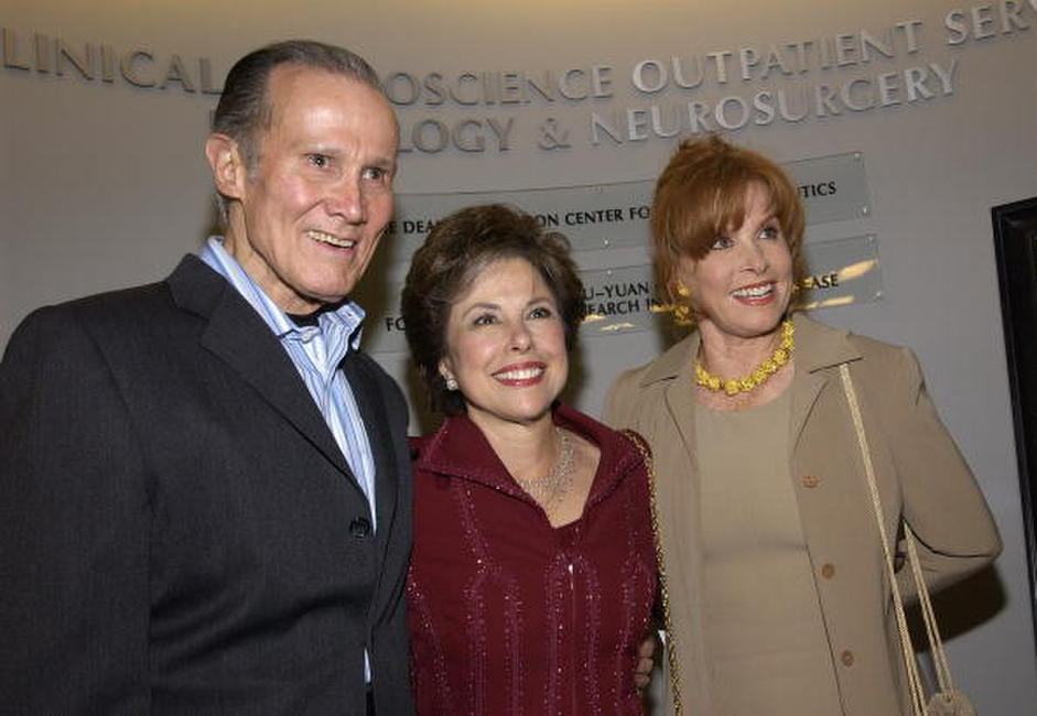 Henry Silva, Producer Kate Edelman Johnson and Stephanie Powers at the opening of the Deane F. Johnson Center For Neurotherapeutics.