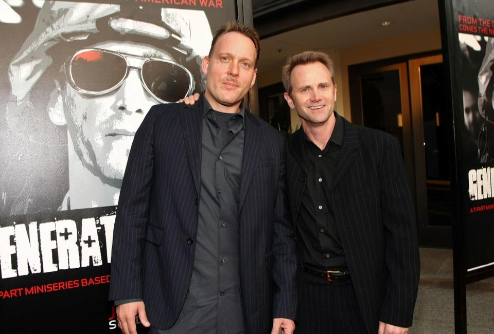 Evan Wright and Lee Tergesen at the premiere of