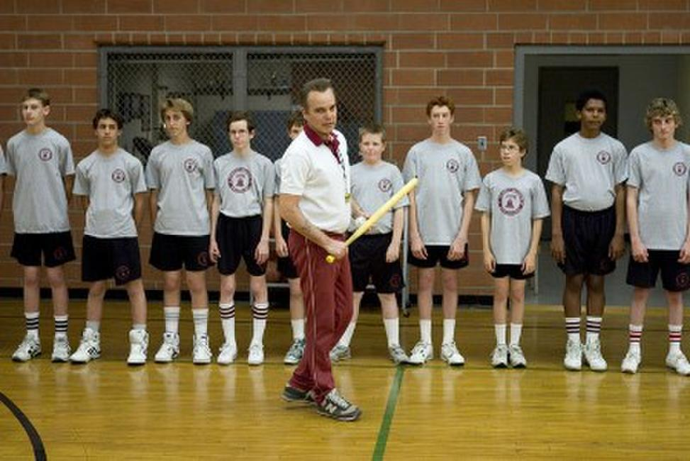 Mr. Woodcock (Billy Bob Thornton) and his gym class in