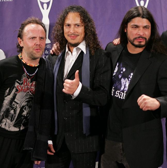 Lars Ulrich, Kirk Hammett and Robert Trujillo at the 21st Annual Rock And Roll Hall Of Fame Induction Ceremony.