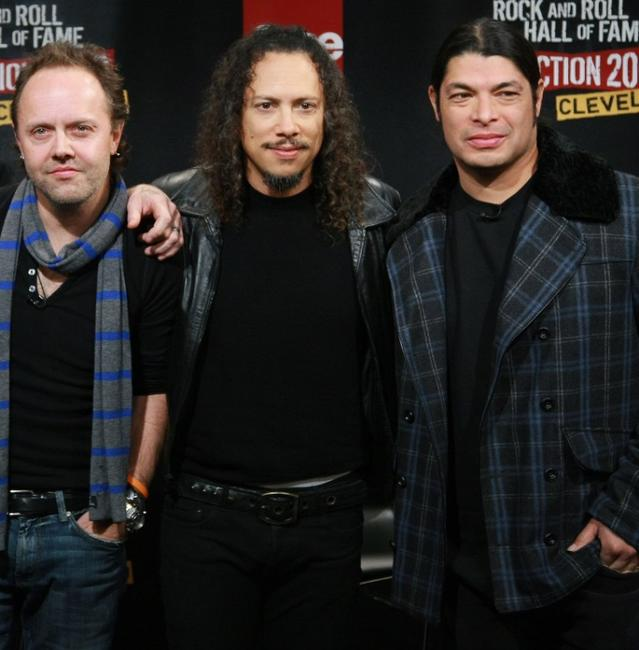 Lars Ulrich, Kirk Hammett and Robert Trujillo at the Rock & Roll Hall of Fame 2009 inductee announcement.