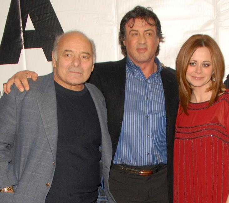 Burt Young, Sylvester Stallone and Geraldine Hughes at the premiere of