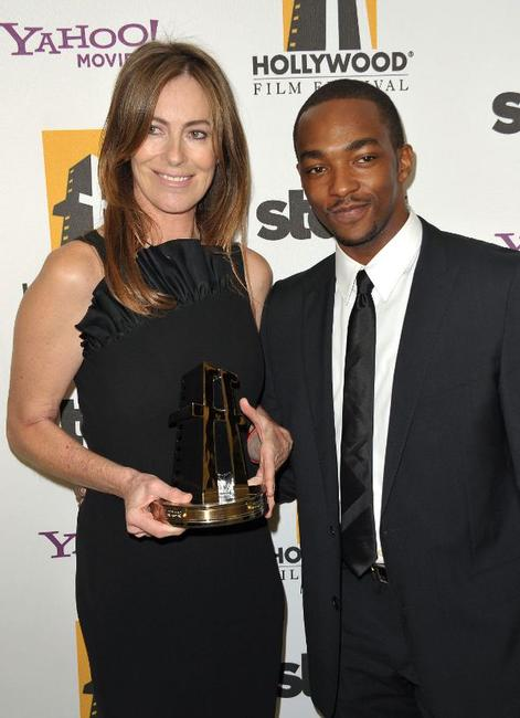 Kathryn Bigelow and Anthony Mackie at the Hamilton Behind the Camera Awards.