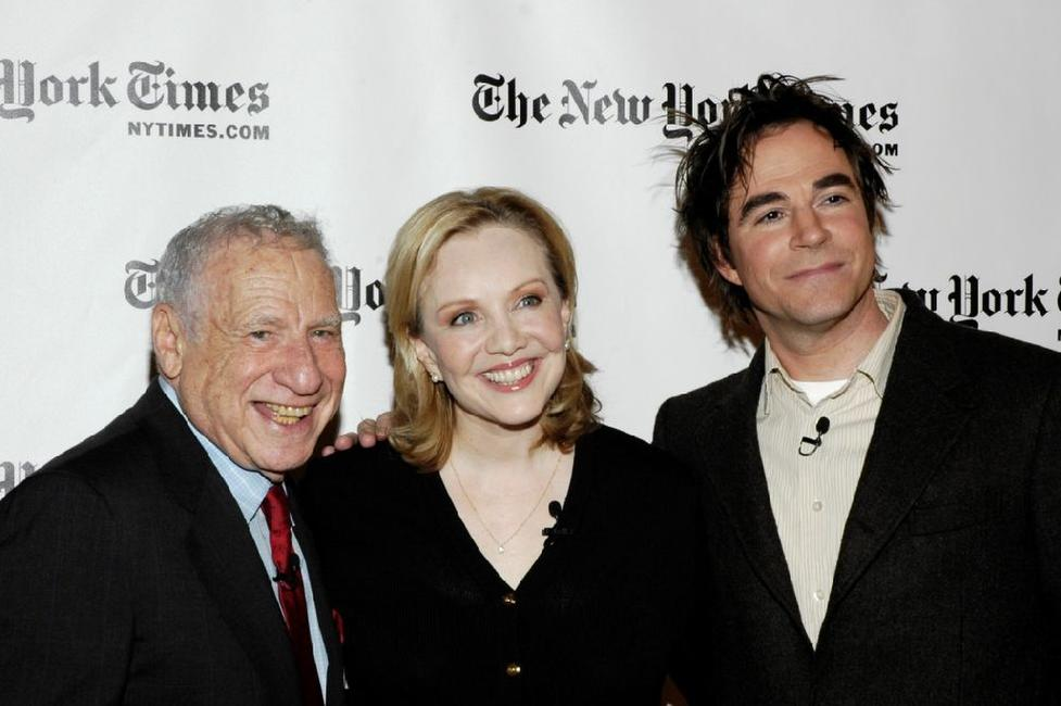 Mel Brooks, Susan Stroman and Roger Bart at the Times Center for the New York Times Arts & Leisure Week.