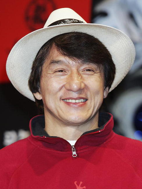 Jackie Chan at a press conference promoting the Jackie Chan brand headwear collection in collaboration with Japanese headwear company Shigematsu in Japan.