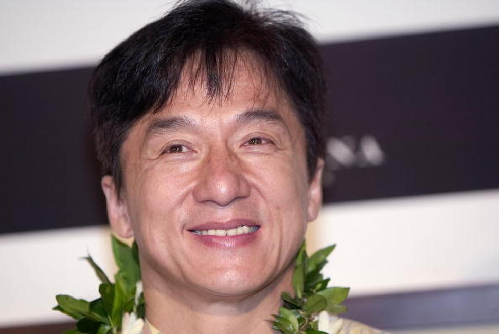 Jackie Chan at a press conference announcing the opening of Jackie Chan's Kitchen in Hawaii.