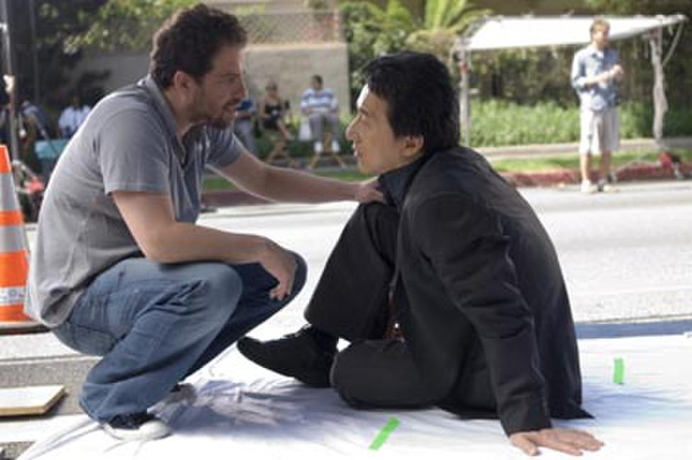 Director Brett Ratner and Jackie Chan on the set of