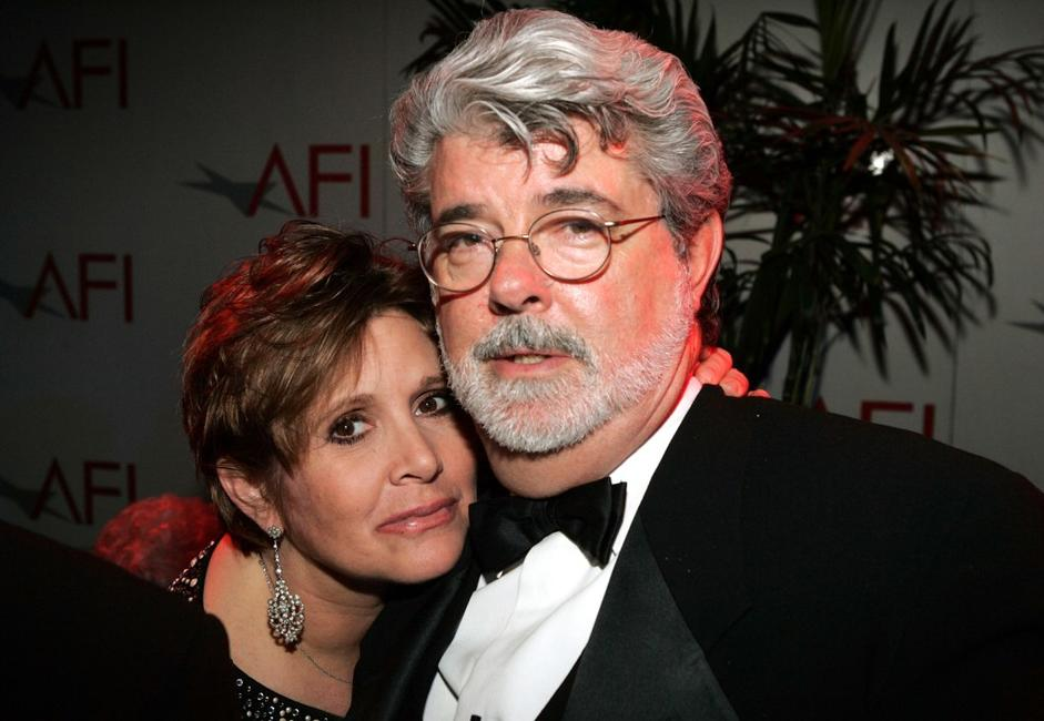 Carrie Fisher and George Lucas at the 33rd AFI Life Achievement Award after party.
