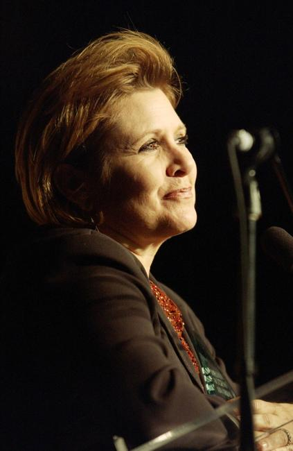 Carrie Fisher accepts the Screen Actors Guild Harlod Russell Award at 20th Annual Media Access Awards.
