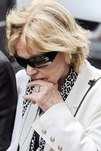 Jeanne Moreau at the Funeral of French actor and filmmaker Jean-Claude Brialy.
