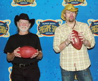 Willie Nelson and Toby Keith at the press conference to announce pre-game activities for Super Bowl XXXVIII.