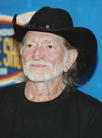 Willie Nelson at the press conference to announce pre-game activities for Super Bowl XXXVIII.