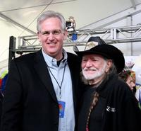 Jay Nixon and Willie Nelson at the press conference for Farm Aid 2009.